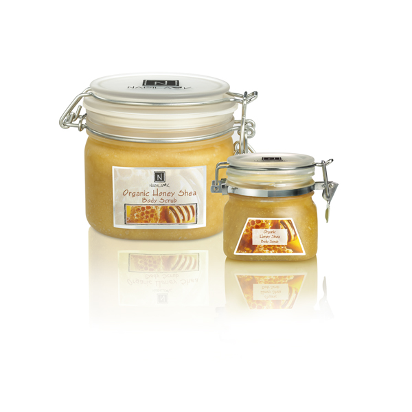 All natural and cruelty-free Organic Honey Shea Body Scrubs made with Babbasu butter and Raw Manuka Honey