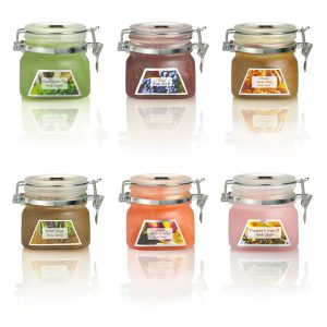 Travel size body scrubs in all six scents