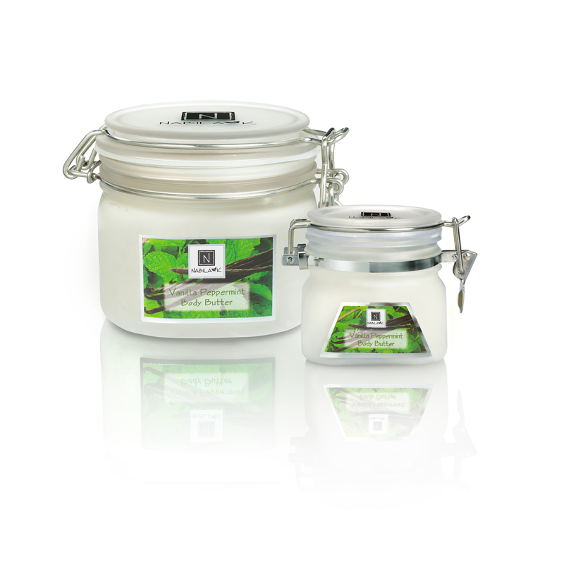 All natural and cruelty-free Vanilla Peppermint Body Butters made with Babbasu butter, Cocoa butter and essential oils